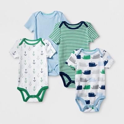 Baby Boys' 4pk Short Sleeve Bodysuit Blue/Green NB - Cloud Island™