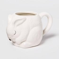 15oz Earthenware Bunny Figural Mug White - Threshold™