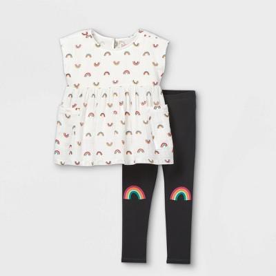 Toddler Girls' Rainbow Top & Leggings Set - Cat & Jack™ Cream/Dark Gray