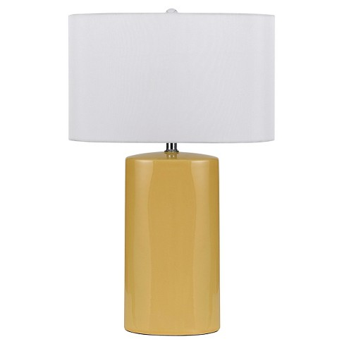 Cal Lighting Minorca Ceramic Pair Of Table Lamps With Drum Shade Lamp Only Yellow