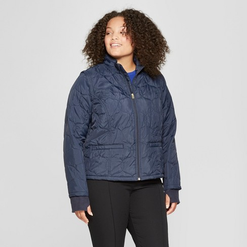 Women's Plus Size Adaptive Short Quilted Jacket - A New Day™ Navy 4X - image 1 of 4