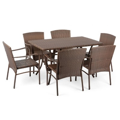 7pc Leisure Collection Patio Dining Set - W Unlimited