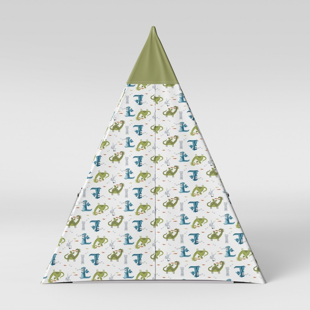 Image of Kids Teepee Dragons Green - Pillowfort