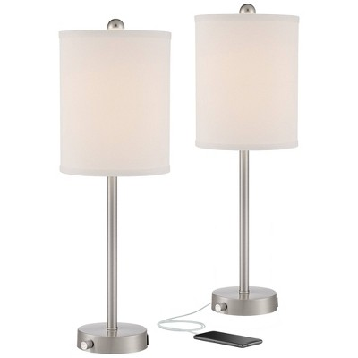 360 Lighting Modern Table Lamps Set of 2 with Dimmable USB and Outlet Brushed Nickel White Fabric Cylinder for Living Room Bedroom