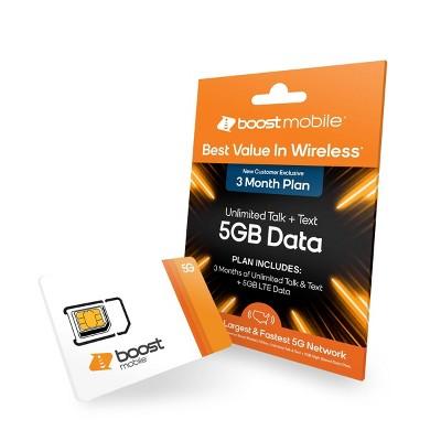 Boost Preloaded SIM Card (5GB) Data 3 Month