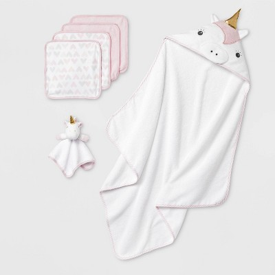 Baby Girls' Unicorn Hooded Bath Towel And Washcloth Set - Cloud Island™ Pink/White One Size