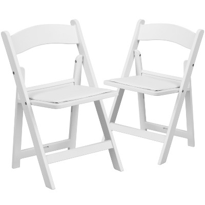 Flash Furniture Kids Folding Chairs with Padded Seats | Set of 2 White Resin Folding Chair with Vinyl Padded Seat for Kids