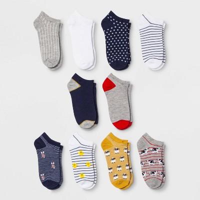 Women's Farm Animal 10pk Low Cut Socks - Xhilaration™ Gray/Blue/Yellow 4-10