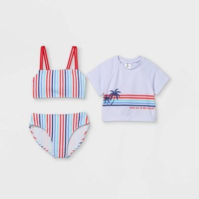 Girls' Meet Me At The Beach Bikini Short Sleeve Rash Guard Set - art class™