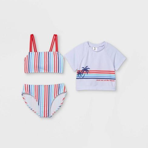Girls' Meet Me At The Beach Bikini Short Sleeve Cropped Rash Guard Set - art class™ - image 1 of 2