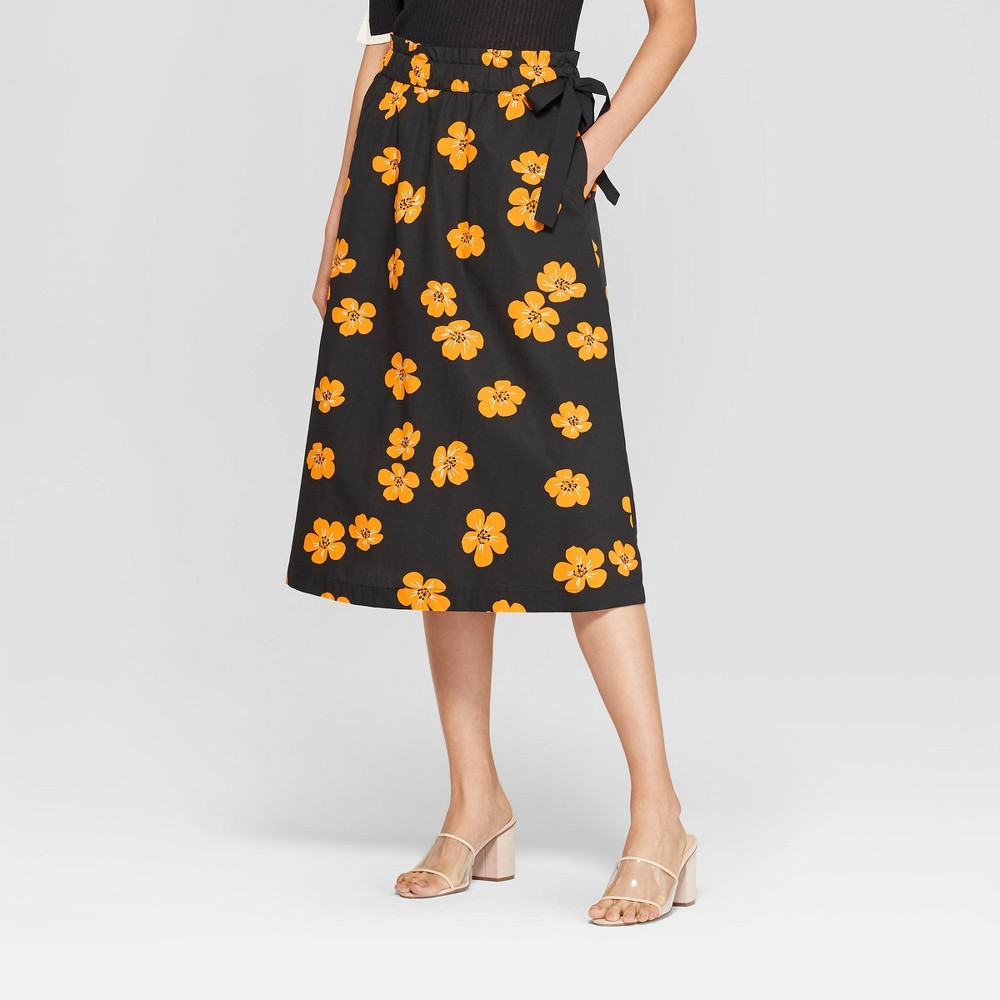 Women's Floral Print Paperbag Midi Tie Skirt - Who What Wear Black XL
