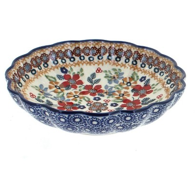 Blue Rose Polish Pottery Red Daisy Scallop Bowl