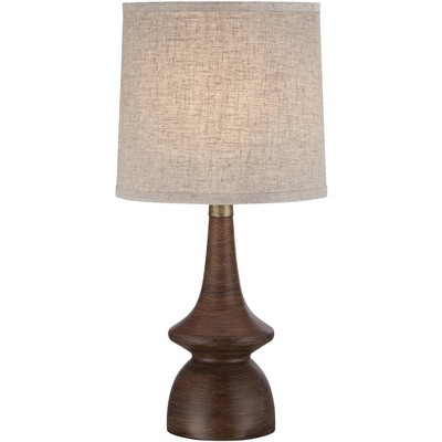 360 Lighting Mid Century Modern Table Lamp Brown Walnut Wood Off White Linen Shade for Living Room Family Bedroom Bedside Office