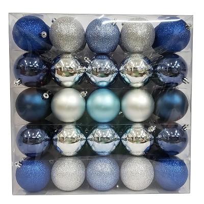 50ct Shatterproof Ornament Set Dark Blue/Silver - Wondershop™