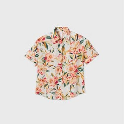 Women's Floral Print Simply Cool Short Sleeve Button-Up Shirt - Stars Above™ Cream