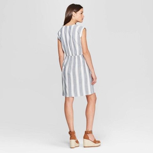 Women s Short Sleeve V-Neck Dolman Striped Dress - Universal Thread™ Blue  XS   Target 8e42ce125