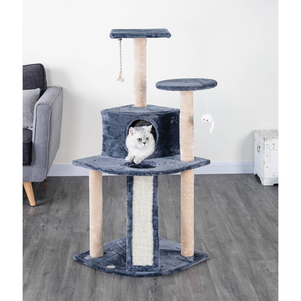 Go Pet Club Kitten Cat Tree Condo With Scratching Board Gray 47 34