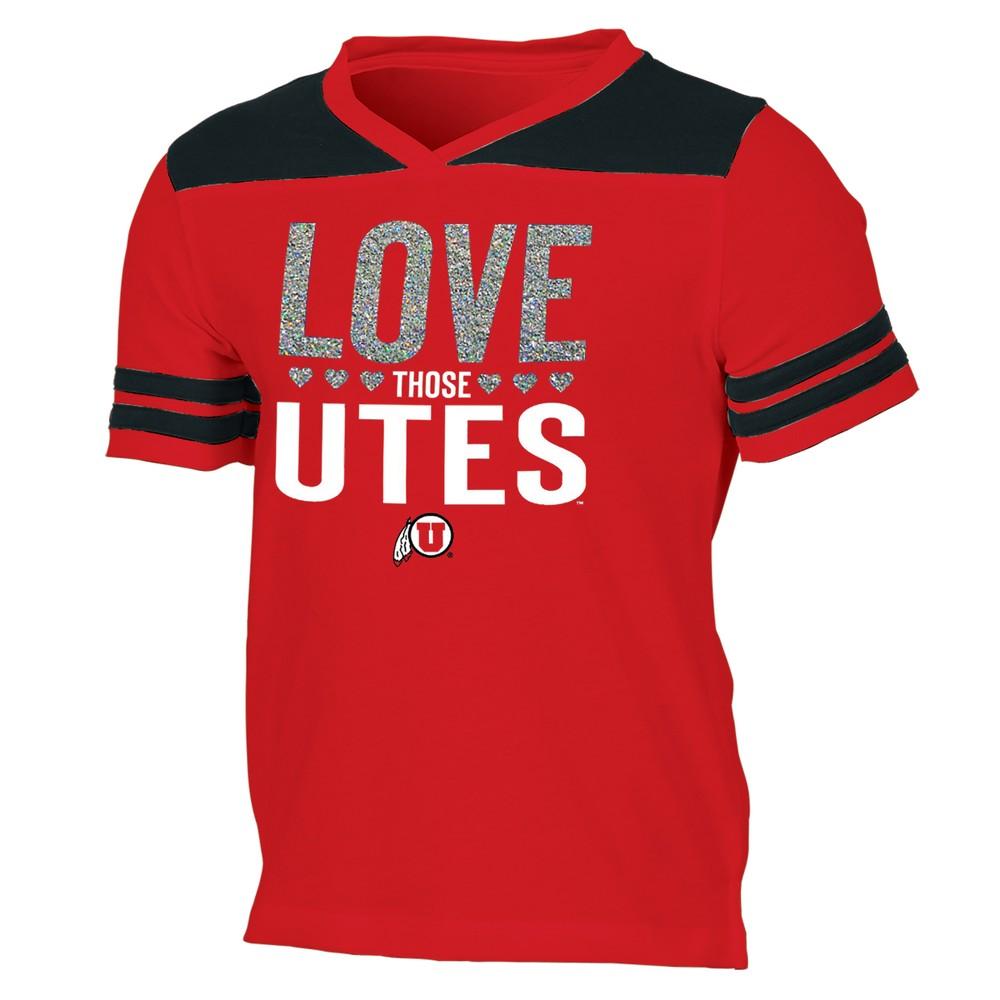 Utah Utes Girls' Short Sleeve Team Love V-Neck T-Shirt M, Multicolored