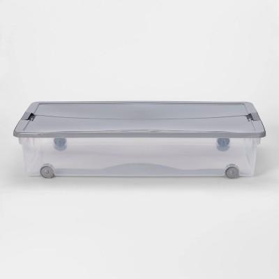 60qt Latching Under bed Storage Bins with Wheels Plus Lid Gray - Room Essentials™