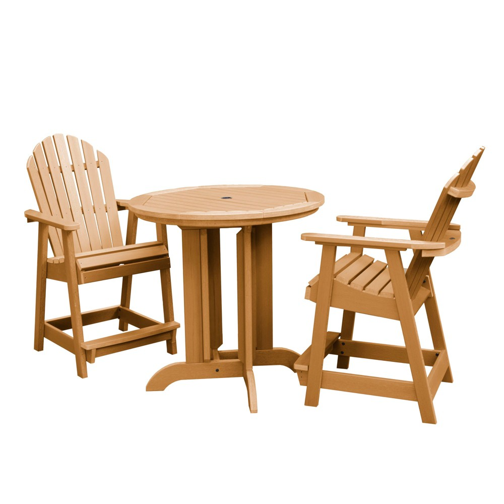 Image of 3pc Hamilton Round Counter Patio Dining Set Toffee - highwood