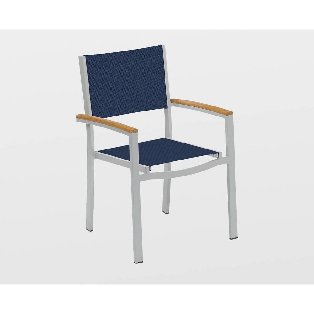 Travira 2pk Sling Armchair with Teakwood Natural Armcaps - Inky Blue - Oxford Garden