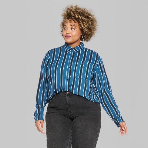 2bf9bd395c3 Women s Plus Size Striped Long Sleeve Tie Front Button-Down Shirt - Wild  Fable™   Target