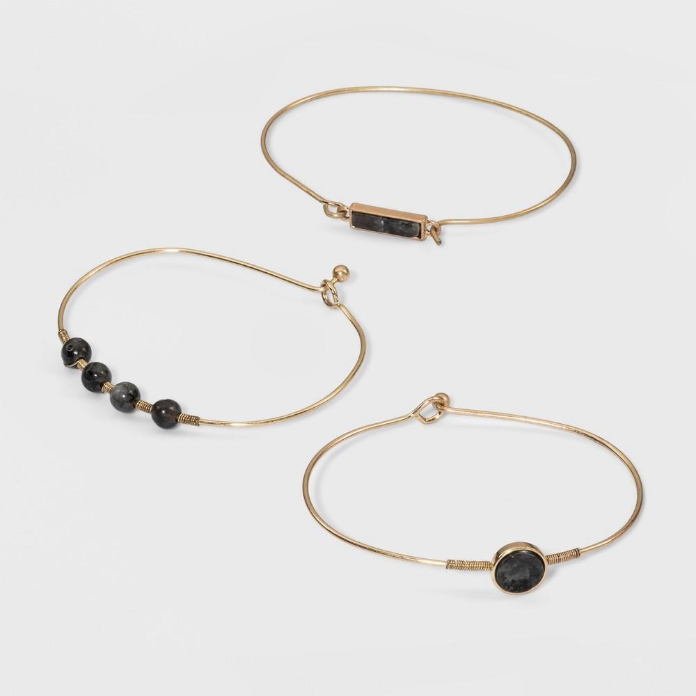 Semi Precious Blue Labradorite Fashion Bracelet Set - Universal Thread Blue/Gold