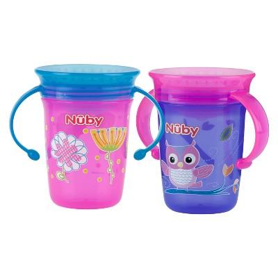 Nuby 2pk 8oz 2 Handle Printed Wonder Cup - Girl
