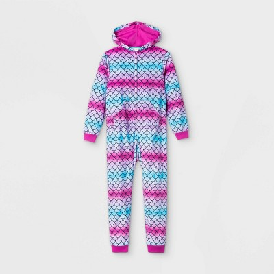 Girls' Hooded Mermaid Pajama Jumpsuit - Cat & Jack™ Purple