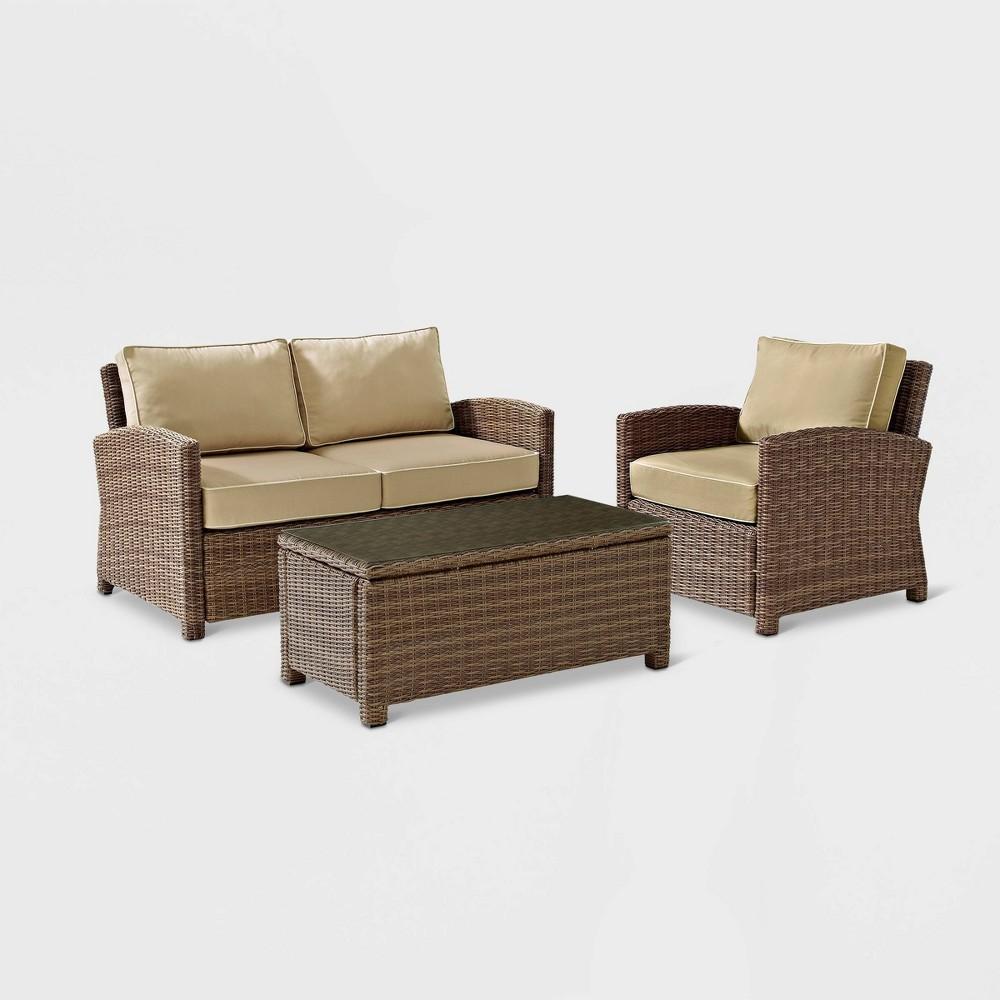 Best Bradenton 3pc Wicker Outdoor Patio Seating Set TanBrown Crosley