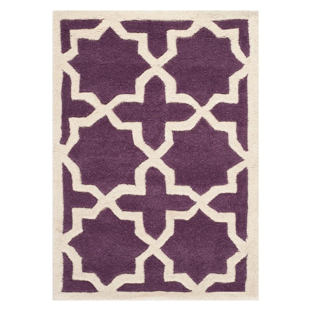2 X3 Quatrefoil Design Tufted Accent Rug Purple Ivory Safavieh