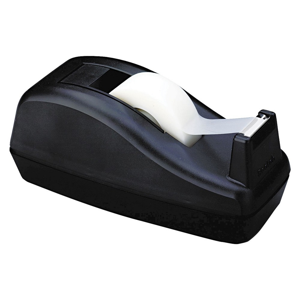 Scotch 1 Core, Heavily Weighted Deluxe Desktop Tape Dispenser - Black The convenience of desktop tape in a handy dispenser. Tape not included. Tape Dispenser Type: Desktop; For Tape Width: Up to 3/4; For Tape Length: Up to 1,500 ; Core Size: 1 . Color: Black.