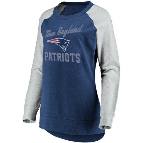 NFL New England Patriots Women s Brushed Tunic  Gray Crew Neck Fleece  Sweatshirt 5bd9c244a5