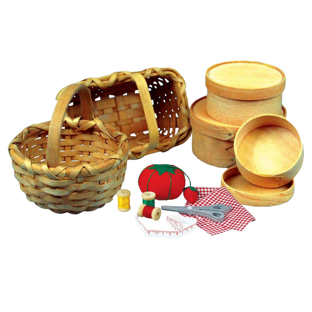 18 Doll Little House Basket Accessories and 7pc Doll Sewing Accessory Set