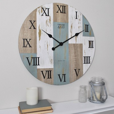"""Timberworks 24"""" Round Wall Clock Distressed Wood Finish - Firstime & Co"""
