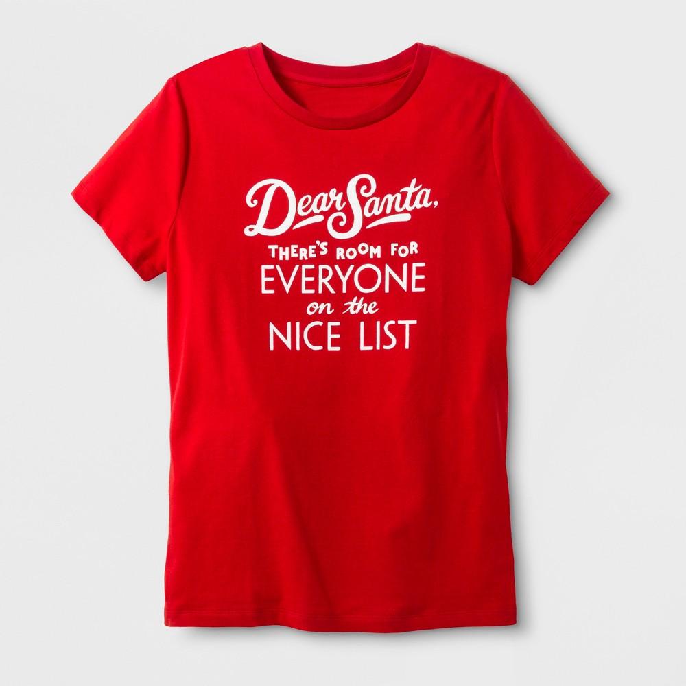 Women's Short Sleeve 'Dear Santa' T-Shirt - Red XL