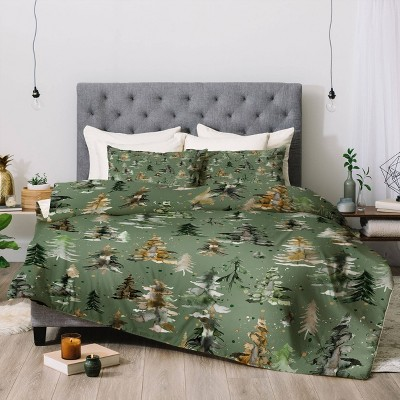 Watercolor Pines Spruces Green Comforter Set - Deny Designs