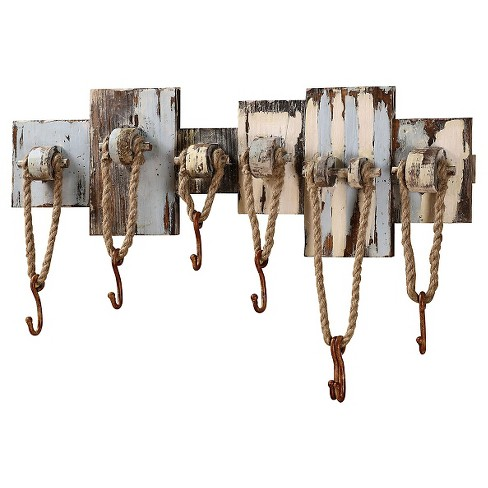 Wood Wall Decor with 7 Hooks & Rope - image 1 of 2