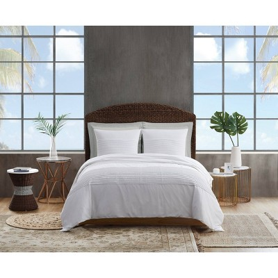 King 3pc Pleated Denim Comforter Set White - Sean John