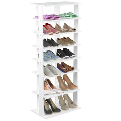 Costway Wooden Shoes Storage Stand 7 Tiers Big Shoe Rack Organizer Multi-Shoe Rack