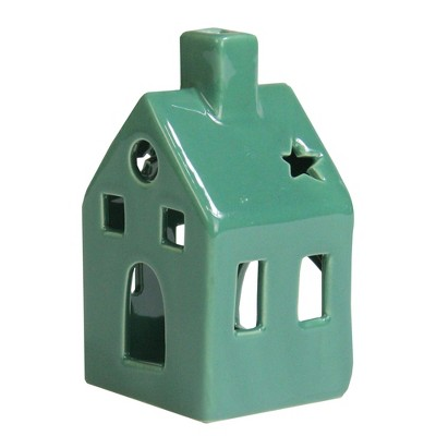 "Northlight 4.25"" Green Tea Light House Mini Flameless Christmas Candle Holder"