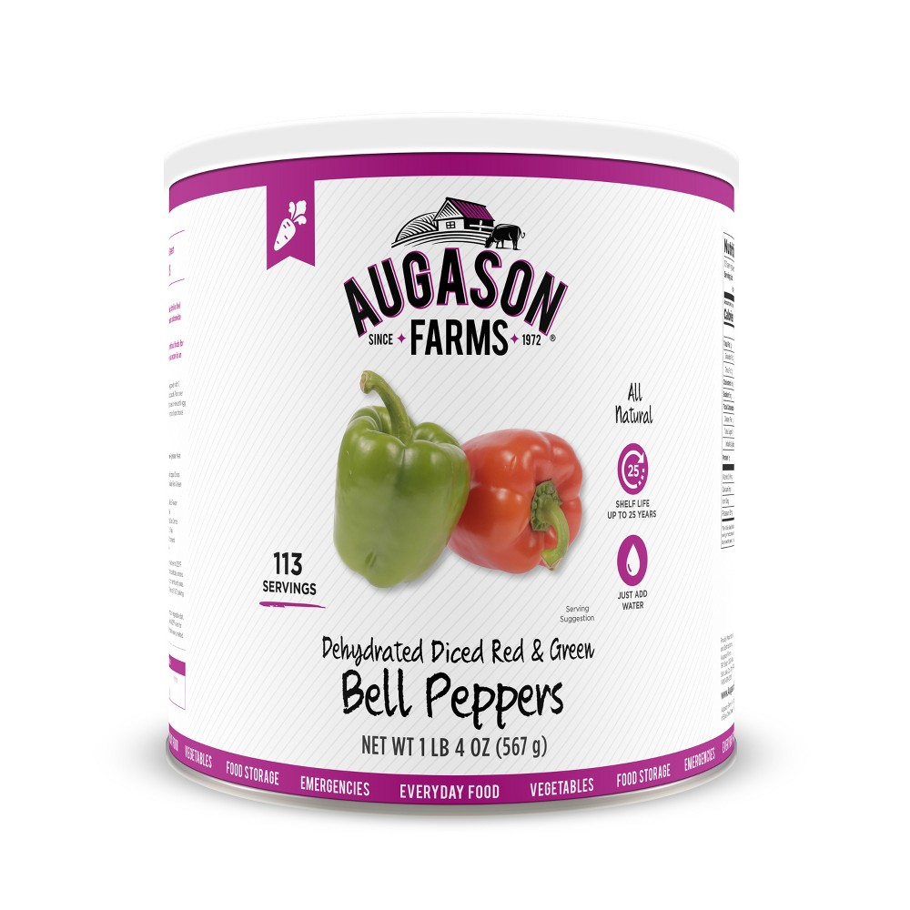 Augason Farms Gluten Free Dehydrated Diced Red & Green Bell Peppers - 20oz