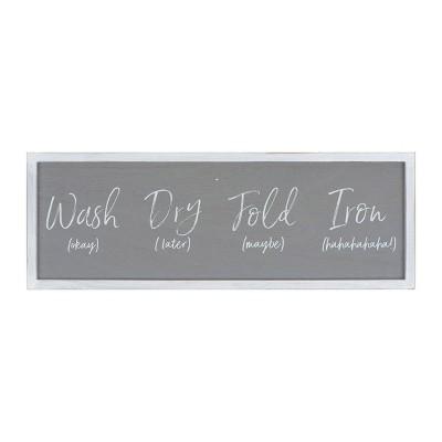 """""""Wash ... Fold 'maybe Iron hahaha"""" Wood Framed Wall Decor Gray - 3R Studios"""