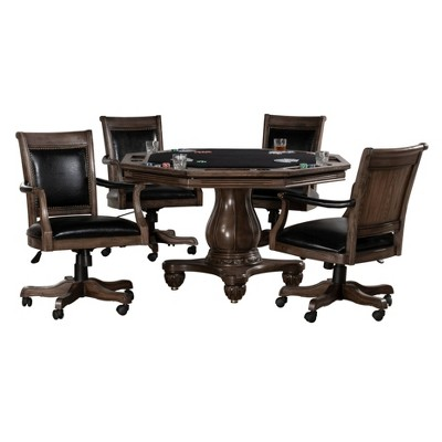 5pc Freeport Octagonal Game Dining Set with 4 Caster Chairs Walnut - Hillsdale Furniture