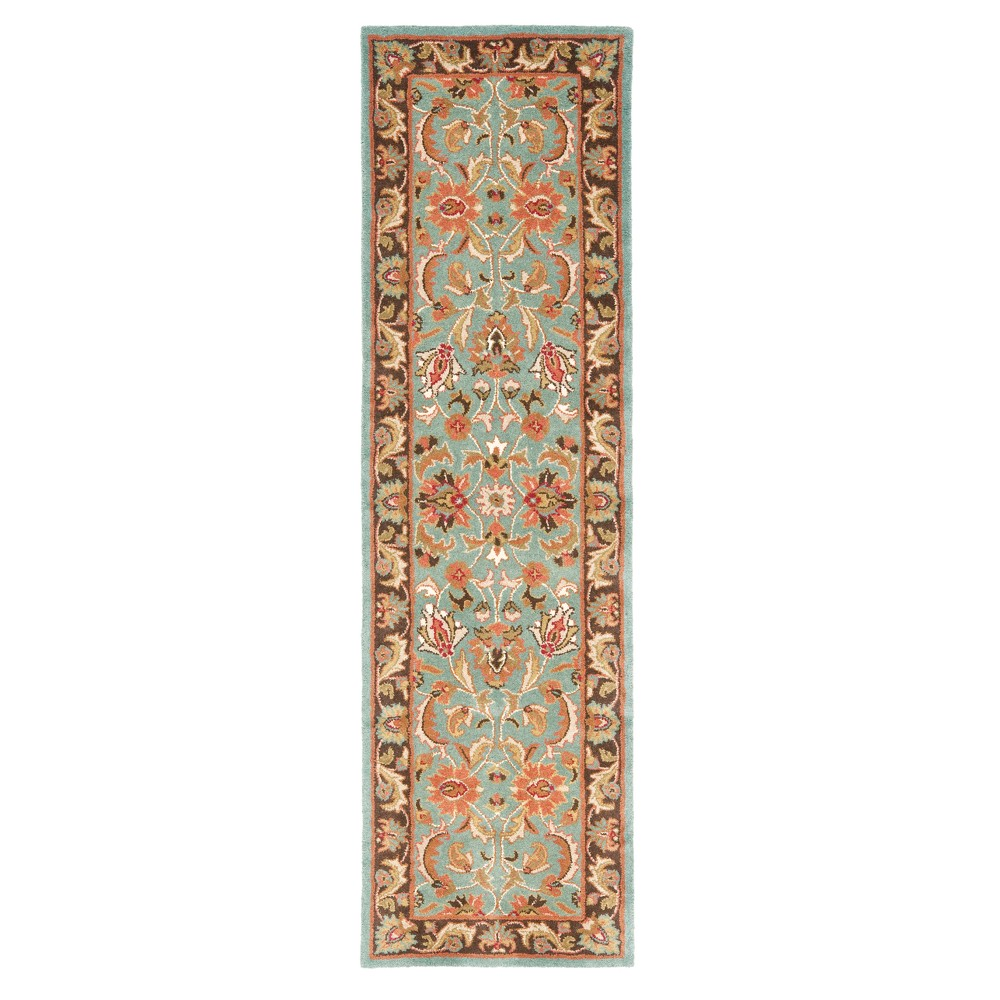 Blue/Brown Floral Tufted Runner 2'3X6' - Safavieh