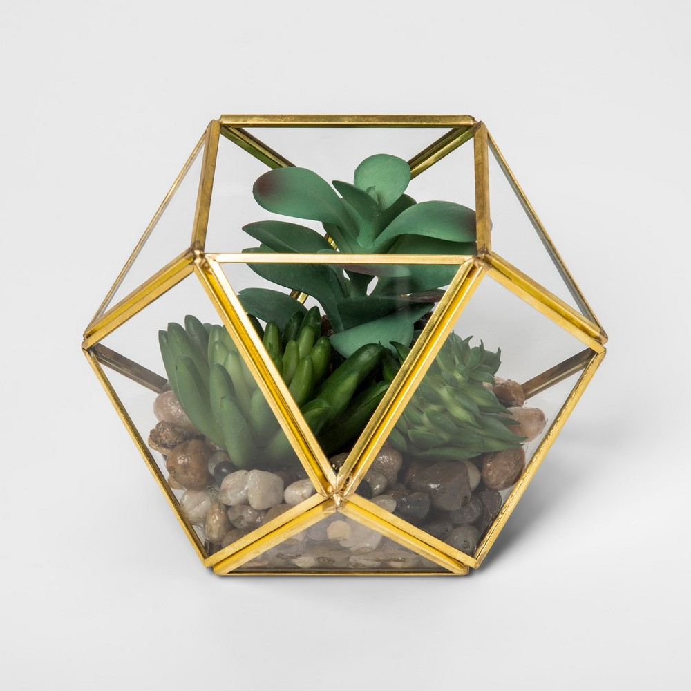 "Image of ""4.1"""" x 4"""" Artificial Succulent Glass Terrarium Gold - Opalhouse, Multi-Colored"""