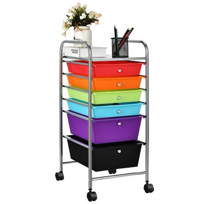 Costway 6 Drawer Rolling Storage Cart Tools Scrapbook Paper Office Organizer