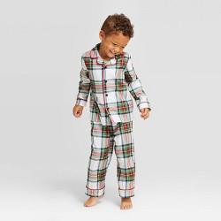 Toddler Plaid Holiday Tartan Pajama Set - Wondershop™ White