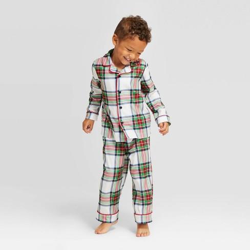 Toddler Plaid Holiday Tartan Flannel Pajama Set - Wondershop™ White - image 1 of 3