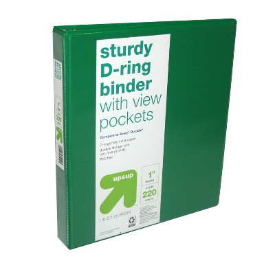"1"" 3 Ring Binder Clear View Green (Compare to Avery® Durable™) - Up&Up™"
